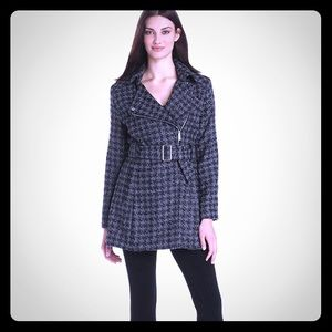 Kenneth Cole New York Black Houndstooth Coat